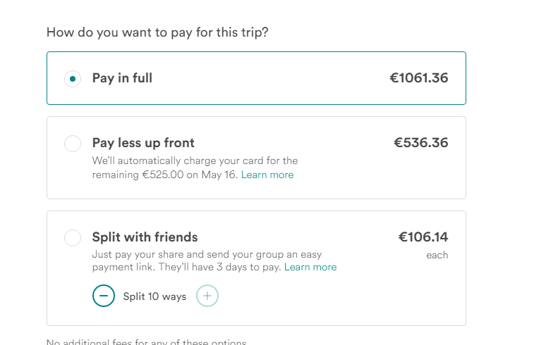 Screenshot of AirBnB split payment.